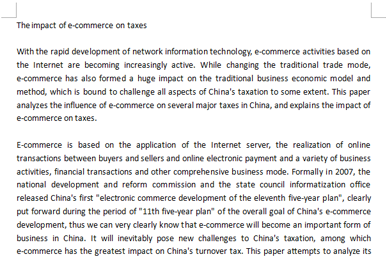 Essay代写案例|The impact of e-commerce on taxes