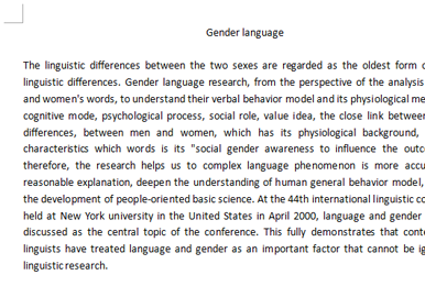社会学Essay代写范文|Gender language