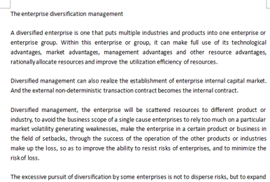 代写商科Essay|The enterprise diversification management